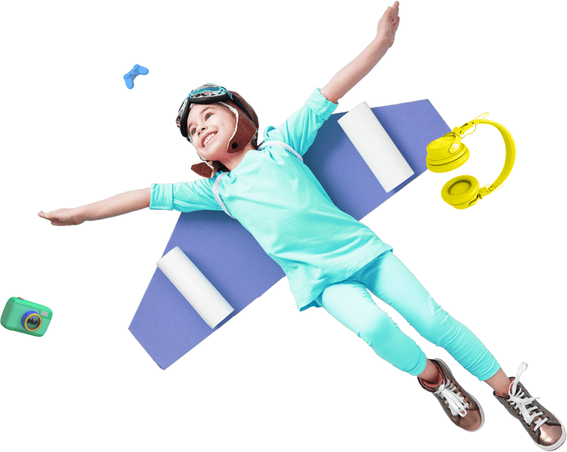 Child flying in the air logo