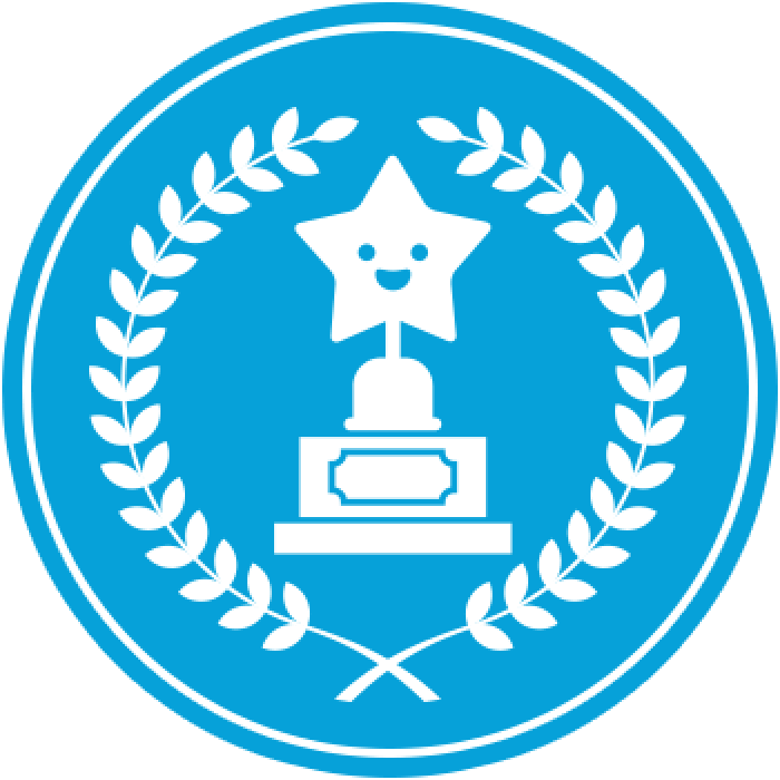 Blue circular trophy with star
