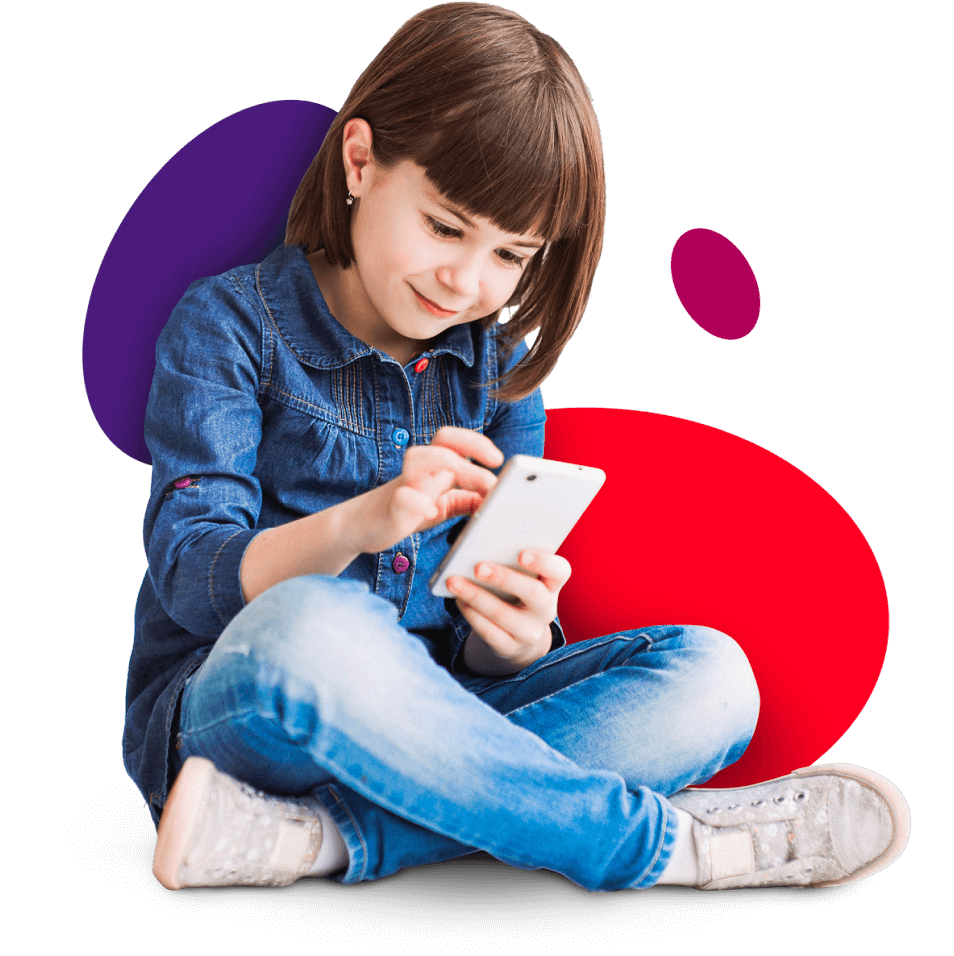 Kid using mobile phone on colourful background