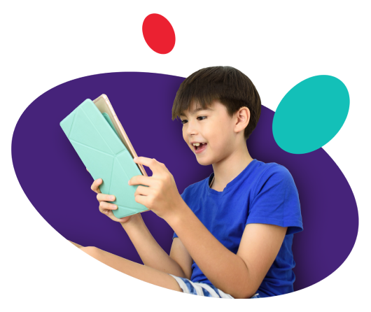 Kid in blue t-shirt uses tablet device on purple background